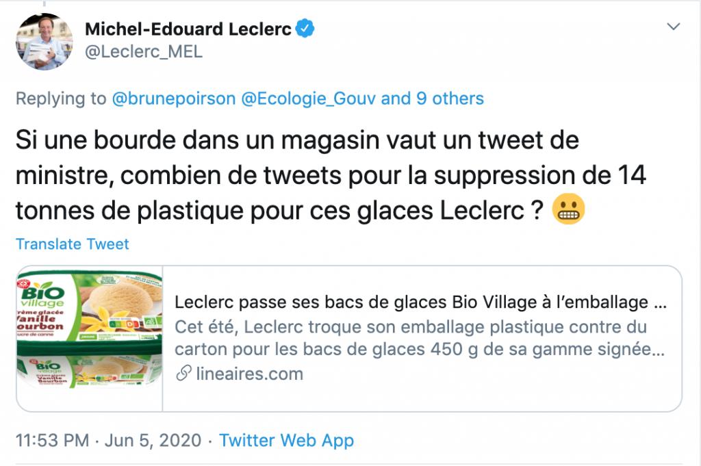 Tweet de mieche edouard leclerc, leader digital
